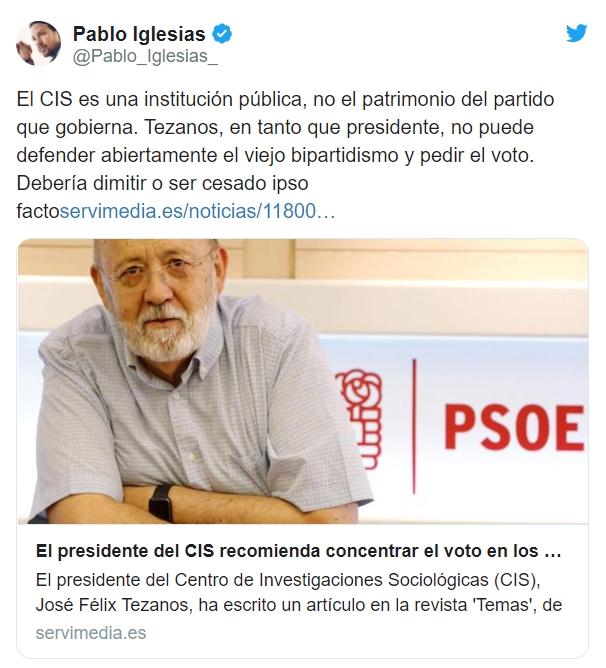 Pablo Iglesias pide la dimisión de Tezanos por pedir descaradamente el voto al PSOE 1