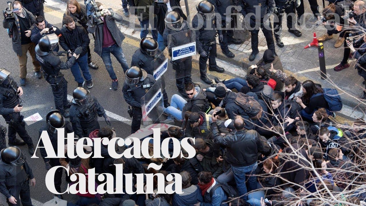 altercados entre manifestantes y - Altercados entre  manifestantes y Mossos en la huelga general en Cataluña
